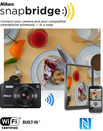 COOLPIX S7000 photo of deserts on a plate on a table, and the shot on a tablet and phone and the snapbridge logo