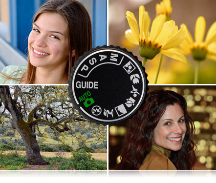 Mode dial of D3200 and images of a yellow flower, portrait of girl, night portrait of girl and landscape taken with Nikon D3200 HD-SLR