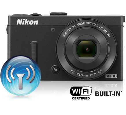 Photo of the COOLPIX P340 and the Wi-Fi icon and Wi-Fi certified built-in logo