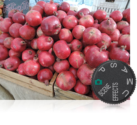 Photo of pomegranates in bins and the mode dial of the camera