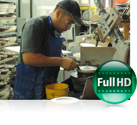Photo of a craftsman in a toolshop and the Full HD video icon showing video capabilities