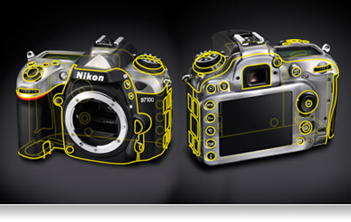 Illustration of the front and back views of the Nikon D7100 chassis