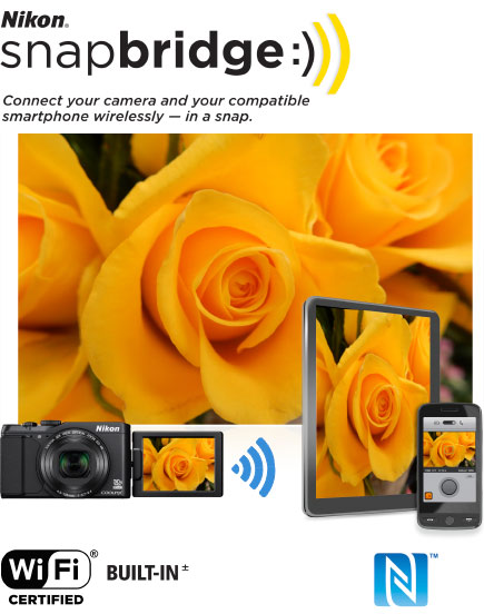 COOLPIX S9900 photo of yellow roses inset with the image on a tablet, phone and LCD of the camera; and the Nikon snapbridge logo
