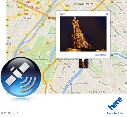 Photo of the Eiffel Tower at night inset on a map of Paris, with the icon for GPS