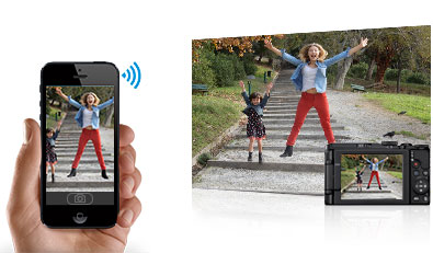 Photo of a mom and child jumping in air, and that image on a tablet and phone, inset with the camera itself