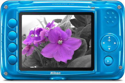 Back view of the COOLPIX S30 showing Selective Color, an in-camera Special Effect.
