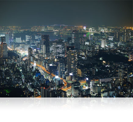 Low light photo of a cityscape shot with the AF-S NIKKOR 58mm f/1.4G lens
