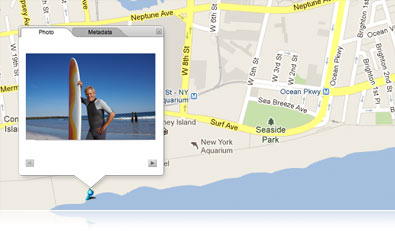 image of a surfer with board at the shore on a Google map crop of Coney Island
