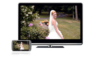 image of a bride in a garden on the camera's LCD and an HDTV