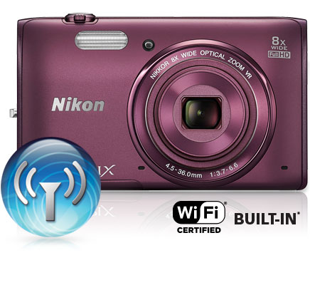 COOLPIX S5300 and the Wi-Fi icon and Wi-Fi certified built-in logo