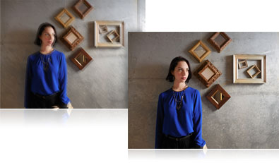 Two photos of a woman standing against a wall, one shot is blurry, the other is sharp