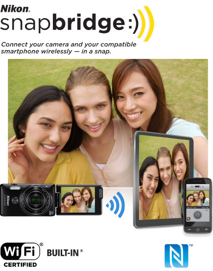 COOLPIX S6900 photo of three women, with the image on a tablet, phone and LCD and the Nikon snapbridge logo