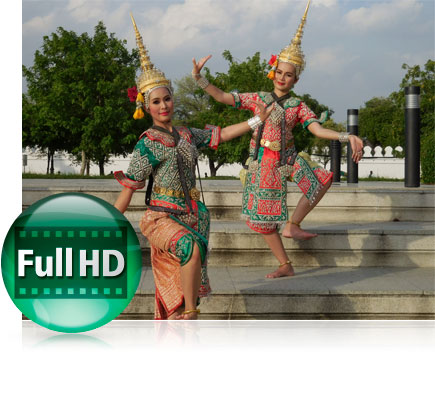 Two dancers in traditional outfits and the Full HD icon inset