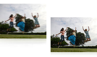 Two photos of three women jumping in air, one sharp and one blurry