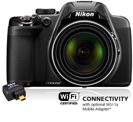 COOLPIX P530 camera with the WU-1a wireless mobile adapter and Wi-Fi connectivity logo