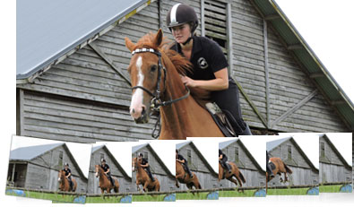 Photo of a horse and rider inset with multiple shots showing continuous shooting