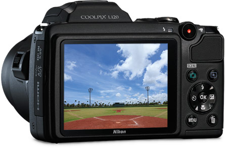 The COOLPIX L120's high-resolution, 3-inch LCD color display
