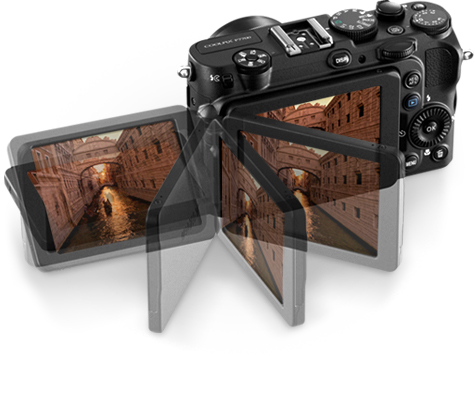 photo illustration of the COOLPIX P7700 and its vari-angle LCD with a photo of a venice canal on the LCD