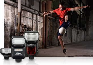 Nikon D750 photo of a soccer player in mid jump in a run down building inset with three Nikon Speedlight flashes