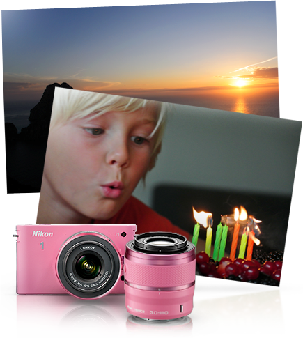 Nikon Nikon 1 J1 Pink Two Lens Zoom Kit in Pink