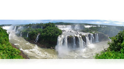 Panoramic photo of waterfalls in Foz do Iguacu, Brazil