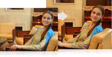 Exemplo de uma fotografia tirada com e sem os recursos da estabilização VR de três níveis