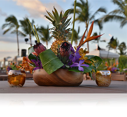 Photo of a tropical centerpiece and palm trees shot with the AF Zoom-NIKKOR 24-85mm f/2.8-4D IF lens