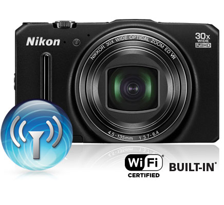 Photo of the COOLPIX S9700 and wi-fi icon and wi-fi certified built-in logo