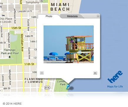 Photo of a map showing a photo of a lifeguard shack shot in Miami Beach
