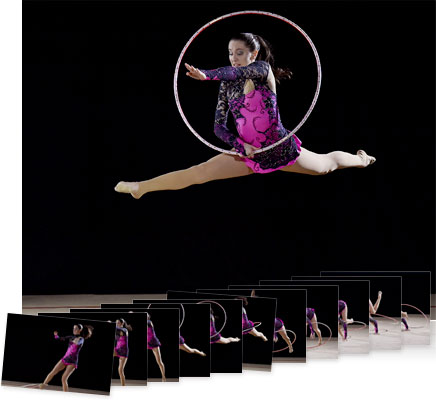 Nikon D4S photos of a gymnast in air with a hoop and multiple consecutive shots showing continuous shooting speed