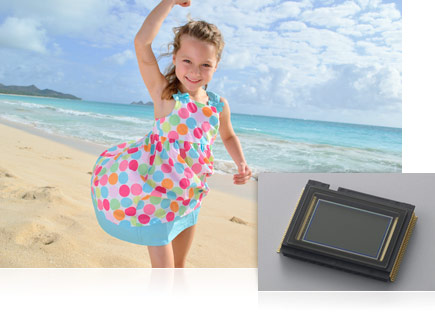 Photo of a girl in a polka dot sundress on the beach with an inset image of the D3100 CMOS image sensor