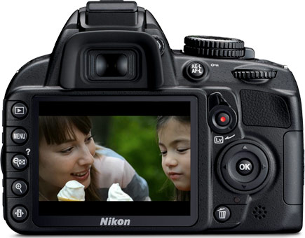 Photo of the rear of the D3100 camera with a shot of a little girl and her mom with ice cream cones on the LCD