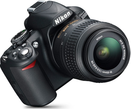 Product photo of the front of the Nikon D3100 D-SLR