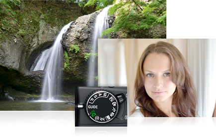 Photo of a forest waterfall, inset with a headshot photo of a woman and the Mode Dial
