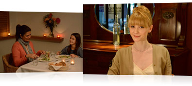 Photo of a mom and daughter eating dinner in low light and a photo of a woman in a restaurant, cropped head and shoulders in low light