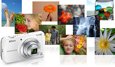A collage of photos that include flowers, people and nature inset with the COOLPIX S810c digital camera