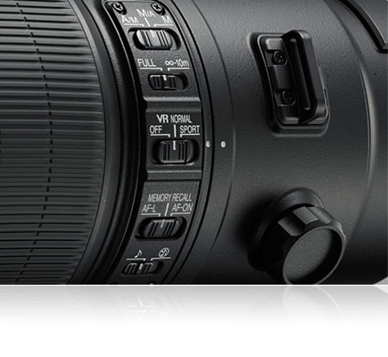 Photo of the switches of the AF-S NIKKOR 600mm f/4E FL ED VR lens