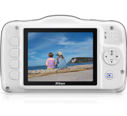 Photo of the rear of the COOLPIX S32 with a photo of kids looking out over the water on the LCD