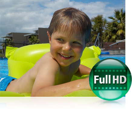 Photo of a boy in a pool on a float and the Full HD icon