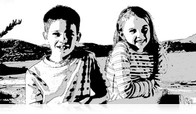 Black and White high contrast photo of a girl and boy showing creative camera effects