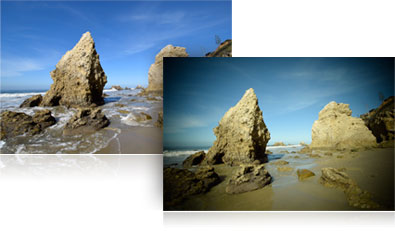 D5300 photos of the rocky shoreline and the same image using an image effect