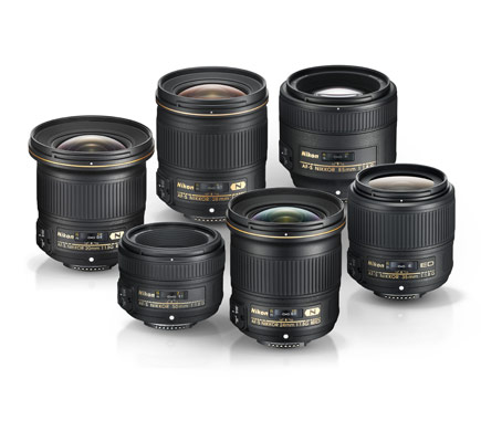 grouping of six f/1.8 NIKKOR lenses