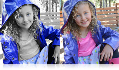photo of a girl and the same photo shot using selective color, captured with the Nikon 1 AW1