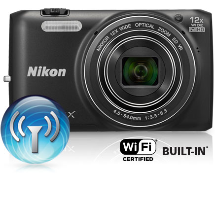Photo of the COOLPIX S6800 with the Wi-Fi icon and Wi-Fi Certified Built-in logo
