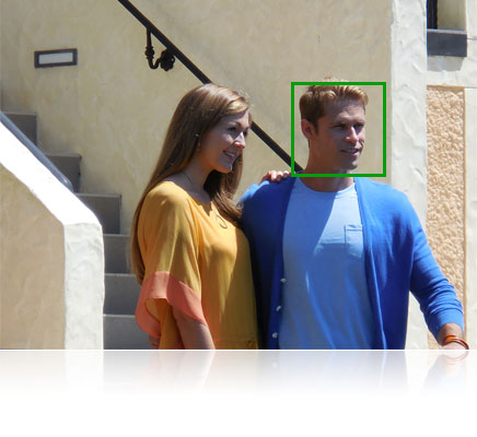 Close up photo of a couple looking off camera, with the AF box in green over the guy's face