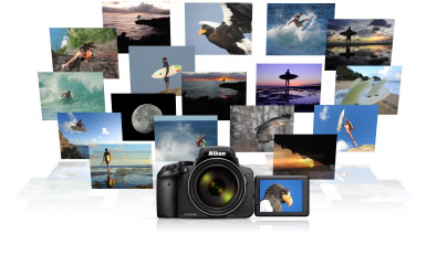Product photo of the COOLPIX P900 and 17 small photos shot with the camera arranged in a grouping