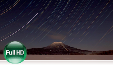 COOLPIX P900 time lapse star trail photo inset with the Full HD icon