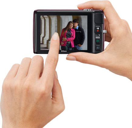 Back view of the COOLPIX S4300 demonstrating its high-resolution 3-inch touch screen.