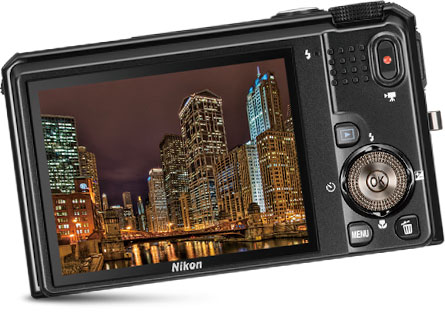 Back view of the COOLPIX S9100 showcasing its ultra-high resolution LCD display