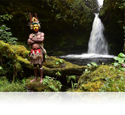 Photo of a tribal warrior in a rainforest, shot with the AF-S NIKKOR 24-70mm f/2.8E ED VR lens